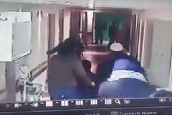 Screenshot of security cameras in Hebron's Al-Ahly hospital capturing Israeli Yamam forces dressed up as a woman in labor and her accompaniment.