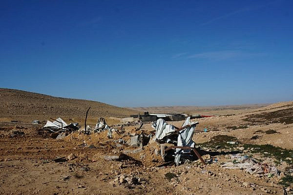 The remains of the village mosque, which was destroyed by Israeli authorities, Rahma, Negev Desert, January 6, 2015. (photo: Michal Rotem)