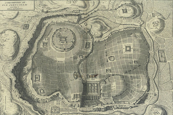 An imaginary plan of ancient Jerusalem from Calmet's Biblical dictionary, 1732.