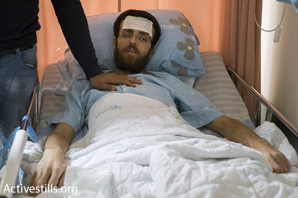 Hunger striking Palestinian journalist Muhammad al-Qiq at Emek Medical Center in Afula, Israel, February 8, 2016. (Oren Ziv/Activestills.org)