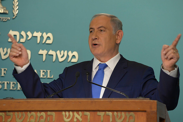 Prime Minister Benjamin Netanyahu speaks at a press conference in Jerusalem, March 23, 2016. (Amos Ben Gershom/GPO)