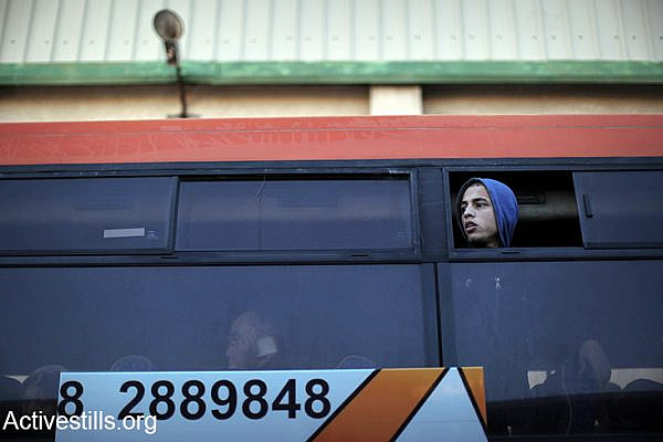 A Palestinian teen travels on a bus from Gaza to Egypt, Rafah crossing. (photo: Ezz Zanoun/Activesills.org)