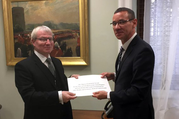 Israeli Ambassador Mark Regev presents his credentials to the UK Foreign Office. (Israeli Embassy/Twitter)
