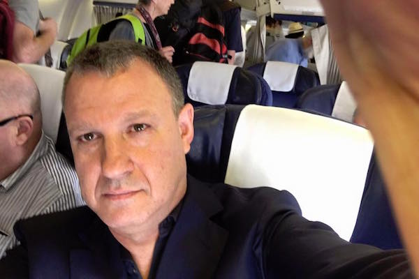 Erel Margalit selfie on a plane (Facebook)