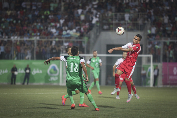 Hebron's Ahly al-Khalil plays Gaza-based Shejaiya in the 2015 Palestine Cup, held in Hebron, West Bank, August 14, 2015. Hebron won the title. (Flash90)
