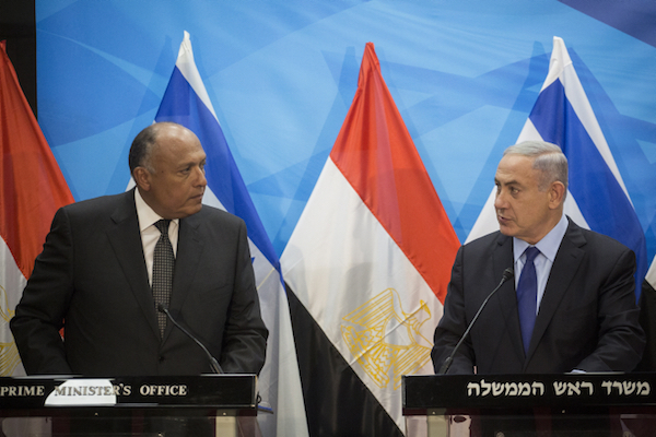 Prime Minister Netanyahu meets with Egyptian Foreign Minister Sameh Shoukry  in Jerusalem, July 10, 2016. (Hadas Parush/Flash90)