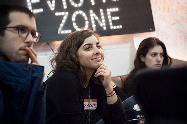 Simone Zimmerman at an IfNotNow training session in New York. (Rafael Shimunov)
