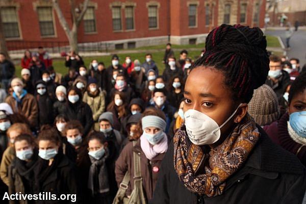 Black Lives Matter activists organize a die-in action outside Memorial Church in Harvard University on December 7, 2014 in Cambridge, Mass. (Tess Scheflan/Activestills.org)