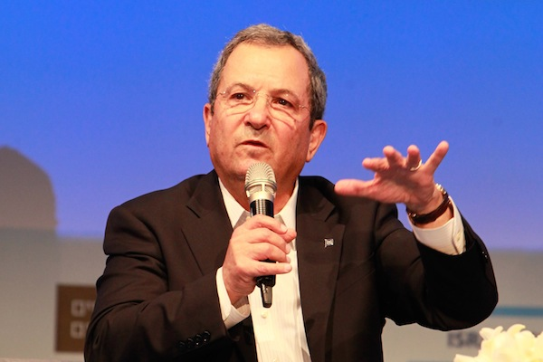 Ehud Barak speaks at Haaretz's Israel Conference for Peace at the David InterContinental hotel in Tel Aviv, Tuesday, July 8, 2014. (Flash90)