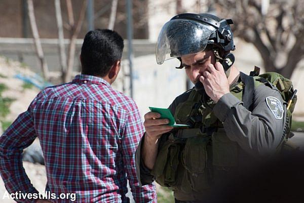 Illustrative photo of Israeli Border Police arresting a Palestinian activist. (Ryan Rodrick Beiler/Activestills.org)
