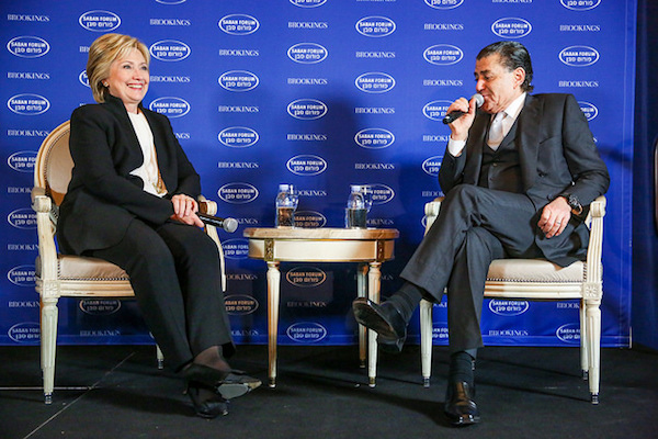 Hillary Clinton with Haim Saban at the Saban Forum (Photo: Brookings Institution)