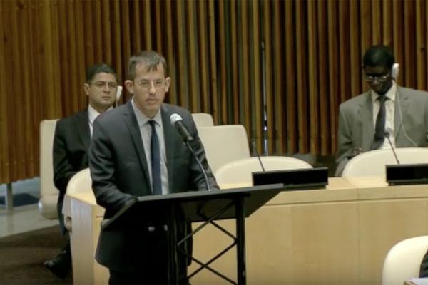 B'Tselem Executive Director Hagai El-Ad addressing a special session of the UN Security Council, October 14, 2016. (Screenshot)