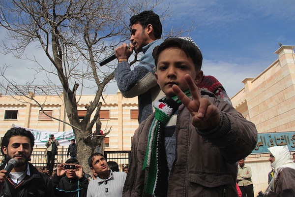 An anti-regime demonstration in Menbej, in the Aleppo countryside, March 8, 2013. (Foreign and Commonwealth Office)