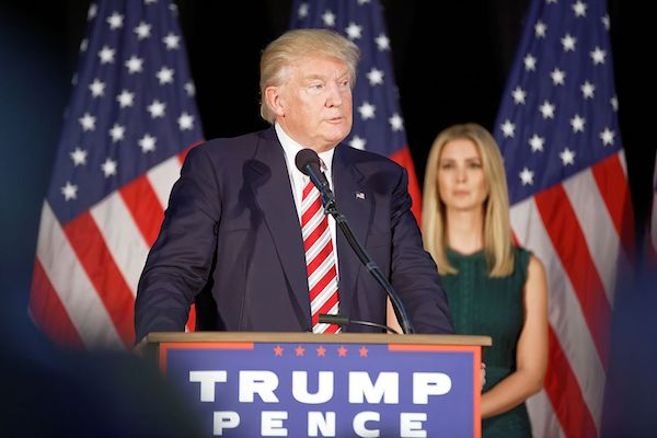 Republican presidential candidate Donald Trump at an election rally, accompanied by his daughter, Ivanka, September 13, 2016. (Michael Vadon/CC BY-SA 4.0)