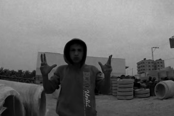 Still from Israeli band MALOX's video 'Gaza Trip,' which features Palestinian parkour athletes in Gaza.