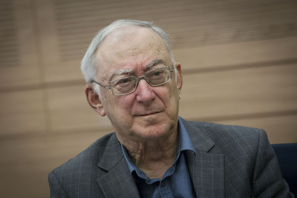 Israeli professor Asa Kasher attends a Foreign Affairs and security meeting in the Israeli parliament. November 3, 2014. (Miriam Alster/Flash 90)
