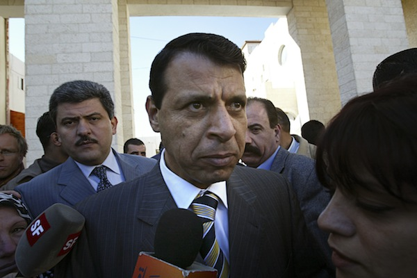 Fatah lawmaker Mohammed Dahlan speaks to the press, Ramallah, December 16, 2006. (Michal Fattal/Flash90)