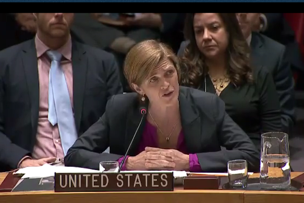 U.S. Ambassador to the UN speaks following the Security Council's passing of a resolution on Israeli settlements, New York, December 23, 2016. (Screenshot from UN Web TV)