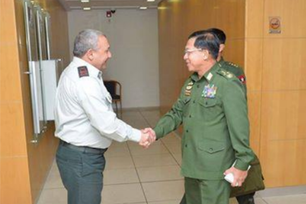 Commander in Chief of the Myanmar military, Min Aung Hlaing, meets with IDF Chief of Staff Gadi Eizenkot during a trip to Israel.
