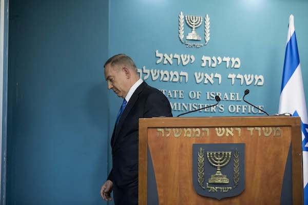 Prime Minister Benjamin Netanyahu delivering a statement to the press at the Prime Minister's Office in Jerusalem, December 28, 2016. (Yonatan Sindel/Flash90)