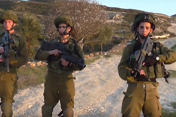 Israeli soldiers seen moments before attacking B'Tselem volunteer Ahmad Ziyada and his brother Mahmoud. (Screenshot)