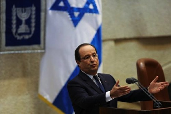 French President Hollande speaks in the Knesset, 2013. (Jonathan Sindel/Flash90)
