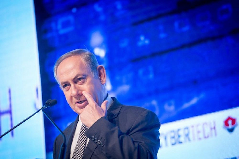 Israeli Prime Minister Benjamin Netanyahu at the Cybertech Israel Conference, in Tel Aviv, January 31, 2016. (Miriam Alster/Flash90)