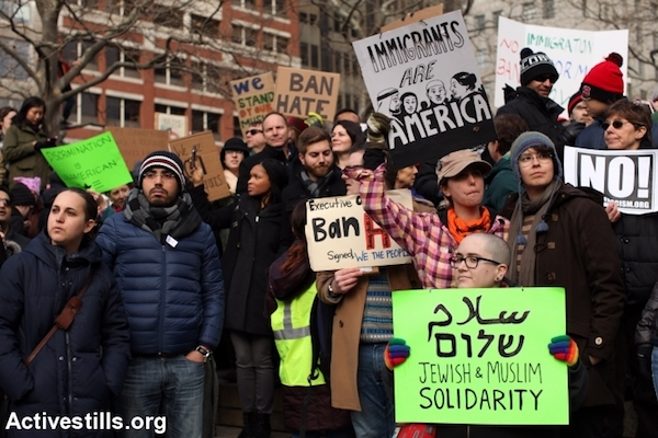 Protesters demonstrate against Trump's Muslim ban, Boston, January 29, 2017. (Tess Scheflan/Activestills)