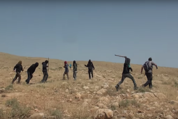 Masked settlers attack Ta'ayush activists near al-Auja, West Bank, April 21, 2017. (Screenshot)