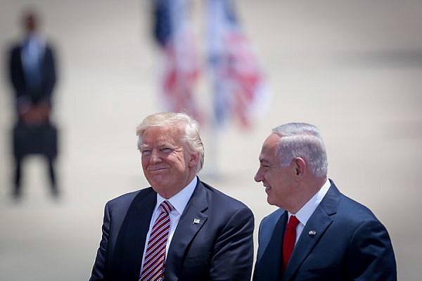 President Donald Trump stands with Israeli Prime Minister Benjamin Netanyahu as he arrives at Ben Gurion Airport near Tel Aviv, May 22, 2017, for his first official visit to Israel as president. (Hadas Parush/Flash90)