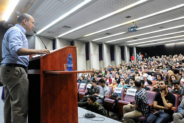 Education Minister Naftali Bennett speaks to students at Bar Ilan University on January 01, 2013. (Flash90)