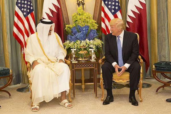 U.S. President Donald Trump meets with the Emir of Qatar Tamim bin Hamad Al Thani in Saudi Arabia, Sunday, May 21, 2017. (White House photo)