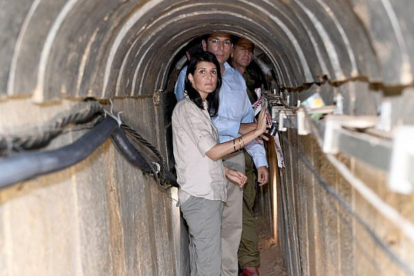 US Ambassador to the UN Nikki Haley visits a tunnel built by Hamas on the border of Israel with the Gaza Strip, June 8, 2017. (Matty Stern/U.S. Embassy Tel Aviv)