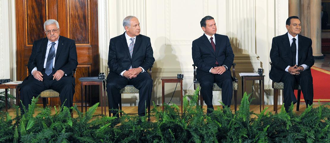 (Left to Right) PLO Chairman Mahmoud Abbas, Israeli Prime Minister Benjamin Netanyahu, Jordan's King Abdullah, and Egyptian President Hosni Mubarak at the start of peace talks at the White House, September 1, 2010. (GPO)