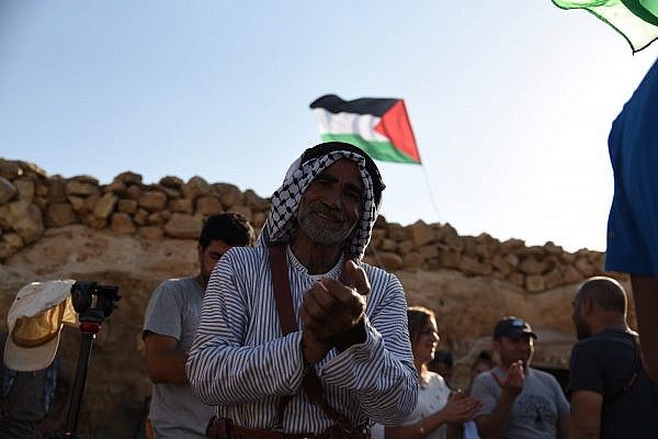 Palestinians, internationals, and Israelis dance together in Sarura, south Hebron Hills. (Rami Ben Ari)