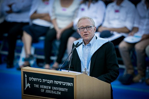 Israeli author David Grossman receives an honorary doctorate at the Hebrew University of Jerusalem's annual convocation, June 11, 2017. (Miriam Alster/Flash90)