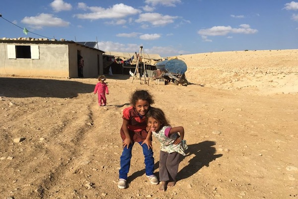 Children seen at Dkaika, a Palestinian village in the south Hebron Hills, slated for demolition. (Rabbis for Human Rights)