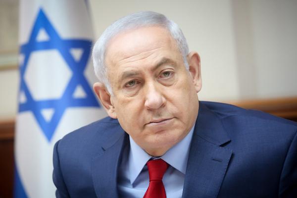 Israeli Prime Minister Benjamin Netanyahu at the weekly cabinet meeting, Jerusalem, June 25, 2017. (Marc Israel Sellem/Pool/Flash90)