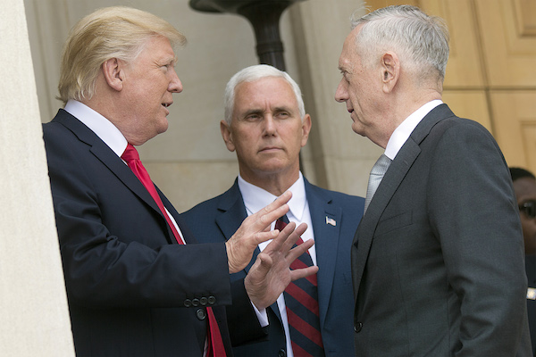 President Donald J. Trump speaks with Defense Secretary Jim Mattis and Vice President Mike Pence at the Pentagon, July 20, 2017. (Department of Defense/Dominique A. Pineiro)