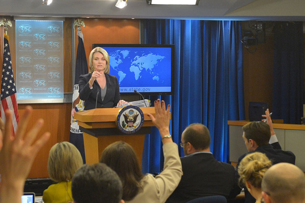 State Department Spokesperson Heather Nauert addresses reporters at the daily press briefing. (State Dept photo)