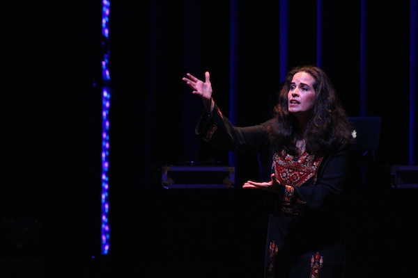 Lebanese-American actress Leila Buck performs Noura Erekat's 'Visiting Palestine,' at the seventh annual DC Palestinian Film and Arts Festival. (Chase Carter)