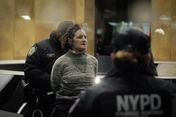 A member of Jewish Voice for Peace is arrested during a protest action at the Anti-Defamation League's offices in New York, November 9, 2017. (Courtesy of JVP)
