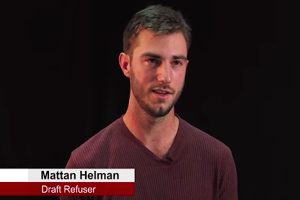 Mattan Helman was supposed to serve in the Nahal Brigrade in the occupied territories. Instead, he will refuse to enlist as a conscientious objector, a decision that will land him in jail.