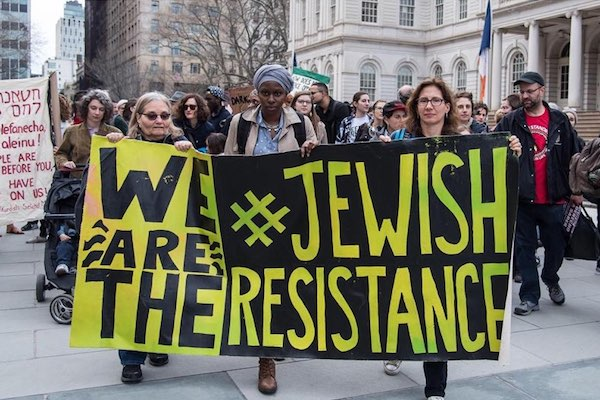 Members of Jews for Racial and Economic Justice protest in New York. (Kyle O'Leary)