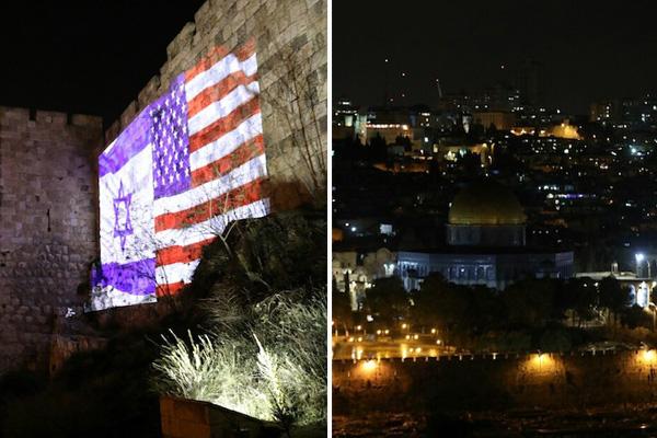Lights celebrating and protesting Trump's declaration on Jerusalem. (Oren Ziv/Activestills.org)