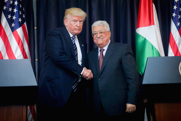 Palestinian President Mahmoud Abbas and US president Donald Trump attend a joint press conference in the West Bank city of Bethlehem, on May 23, 2017. (Flash90)