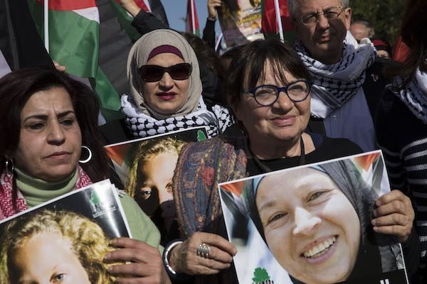Women, including former member of the European Parliament Luisa Morgentini, leading the march in Nabi Saleh. January 13, 2018. (Oren Ziv/Activstills.org)
