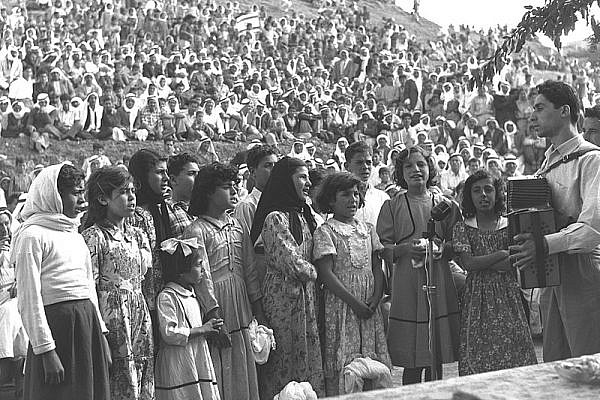 An Arab choir sings at Independence Day celebrations, held in Umm al-Fahm, April 29, 1958 (Moshe Pridan/GPO)