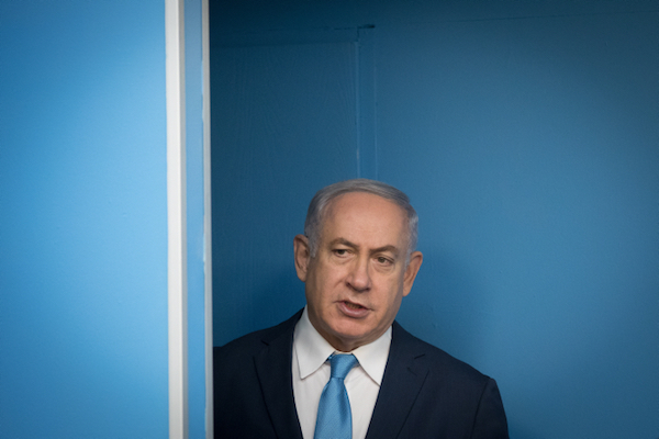 Israeli Prime Minister Benjamin Netanyahu at the Prime Minister's Office in Jerusalem, January 3, 2018. (Yonatan Sindel/Flash90)