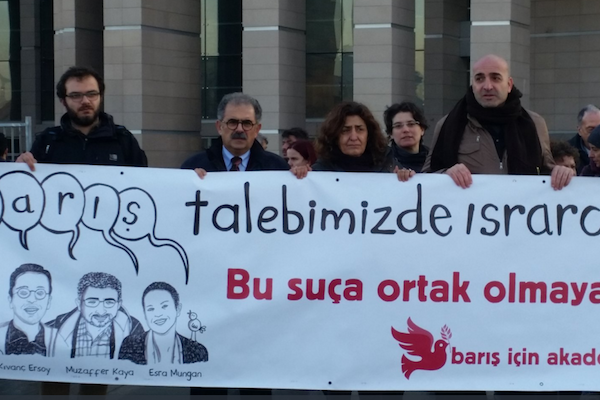 Israeli academics protest outside an Istanbul courthouse alongside 'Academics for Equality,' whose members are on trial for signing a petition calling for peace between Turkey and its Kurdish citizens.